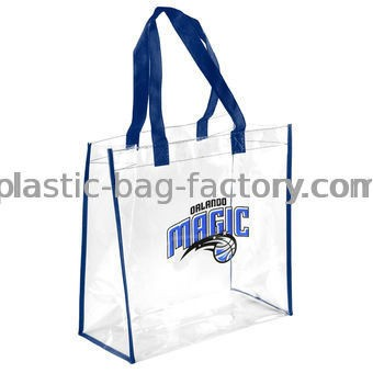 Transparent Vinyl Tote Bag PVC Casual Shoulder Bag with Sturdy Polyester Handles