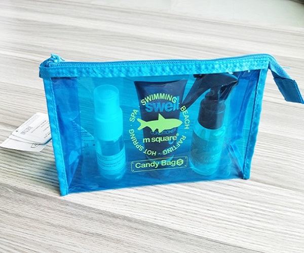 Bright Blue Vinyl PVC Waterproof Zipper Pouch PVC Cosmetic Zipper Bag