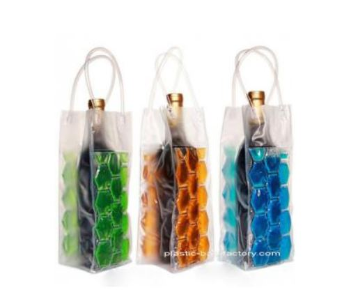 Reusable 750ML PVC Wine Chiller Bag With FDA Grade Chilling Gel And Tube Handles