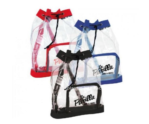Clear Plastic Drawstring Backpack , Printed Drawstring Bags For Promotional Gifts
