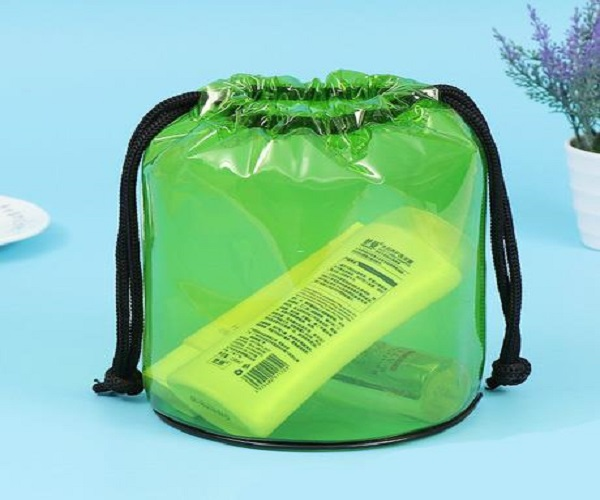 See-Through Cylinder PVC Drawstring Bag with Silk Screen Printing