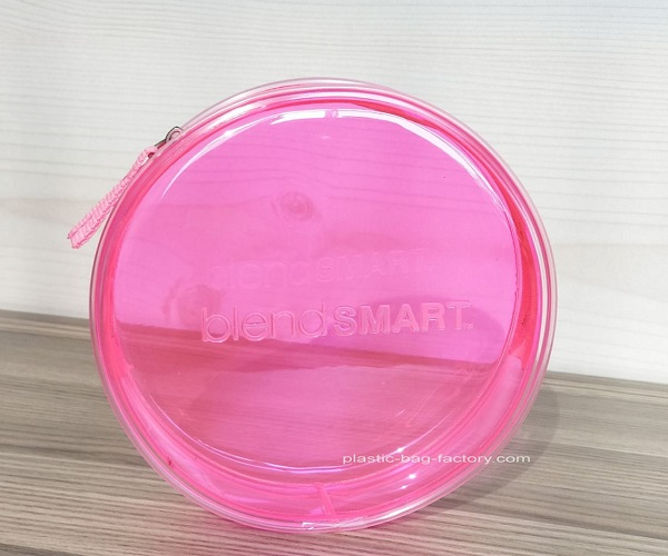 Quanlity Pink Round Transparent Cosmetic Bag Circular Clear Travel Makeup Pouch Organizer with Zipper manufacturer from China