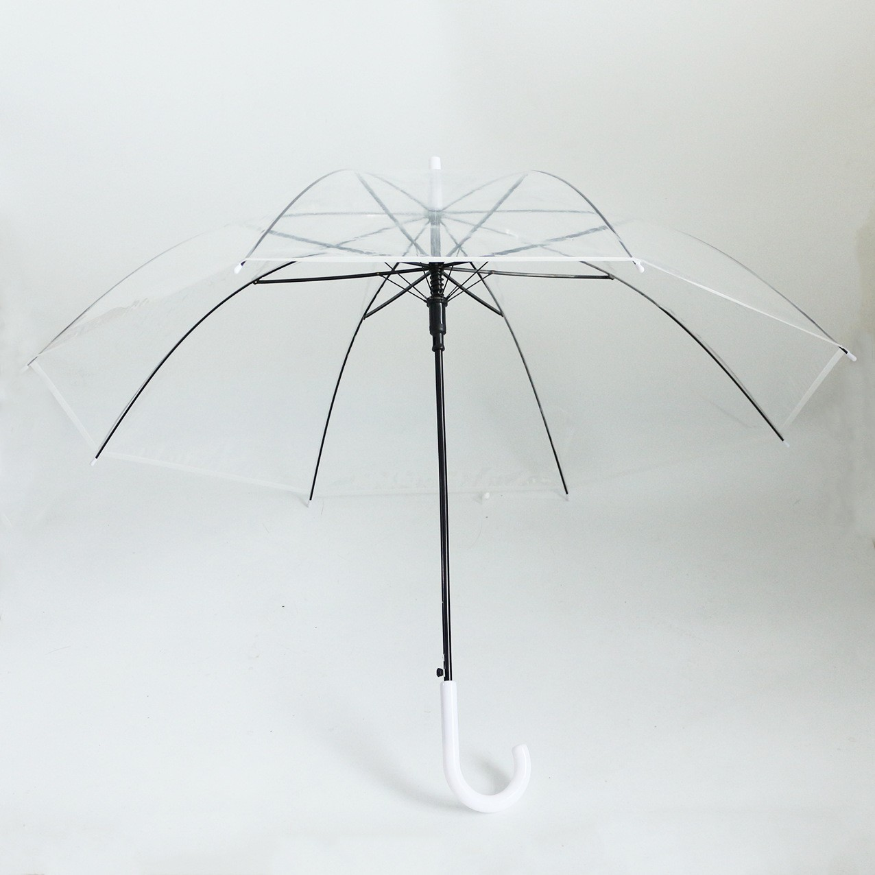 Clear Arched Apolo Rain Umbrellas Transparent Arched Apolo Umbrellas for Girls and Ladies with Long Handle